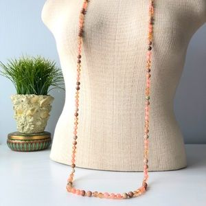 Quality Beadwork Knotted Pinks & Peaches Jasper